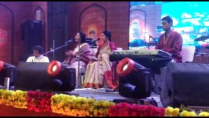 Performance at vicinity of the Surya Mandir (top). Bottom picture from the left: Aniruddha Mukherji (tabla); Samia's Guru Vidushi Sumitra Guha (Solo Vocal); Samia (Solo Vocal); Nabendu Chakraborty (Keyboard)